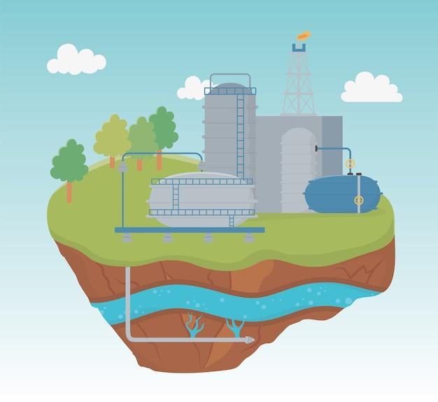 Fracking di esplorazione del processo di fabbrica di piante acquatiche