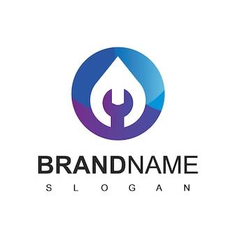 Modello di progettazione del logo dell'impianto idraulico dell'acqua