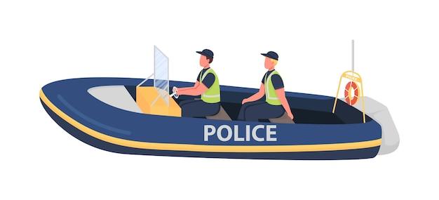 Caratteri senza volto di colore piatto della polizia dell'acqua. poliziotto in barca. pattuglia oceanica. regolamento costiero. illustrazione di cartone animato isolato forze dell'ordine per web design grafico e animazione