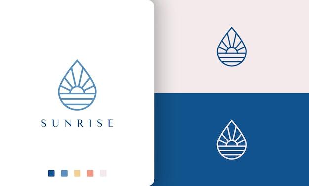 Logo dell'acqua o della piscina in linea mono e stile moderno