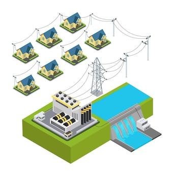 Concetto infographic del ciclo di approvvigionamento del villaggio verde della stazione idroelettrica di energia della centrale idrica.