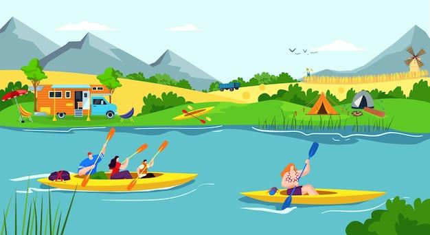 Vacanza di ricreazione dell'acqua nel fiume