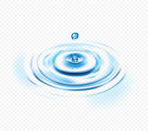 Concetto trasparente realistico dell'ondulazione dell'acqua con goccia e cerchio