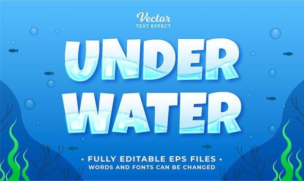 Sotto l'acqua mare effetto testo modificabile eps cc parole e caratteri possono essere modificati