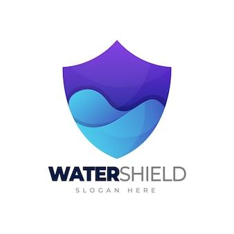 Acqua logo scudo acqua nel modello logo gradiente di protezione dell'acqua scudo