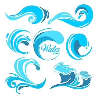 Spruzzi d'acqua e onde dell'oceano. simboli grafici per il logo. turbinio del mare dell'acqua dell'onda, raccolta della natura, illustrazione dell'onda dell'acqua
