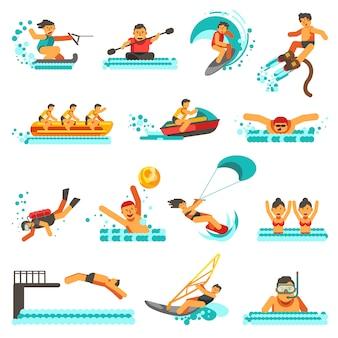Icone piane di attività estive degli sport acquatici messe