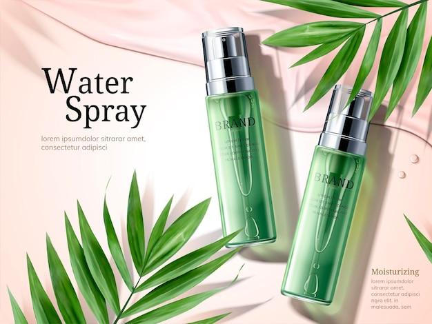 Annunci di spruzzi d'acqua, flaconi spray verdi con elementi di foglie di palma