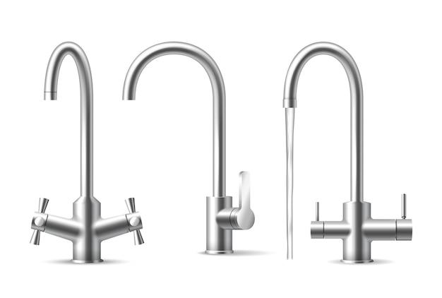 Rubinetto dell'acqua realistico. utensile da cucina cromato aqua, set di rubinetti in acciaio