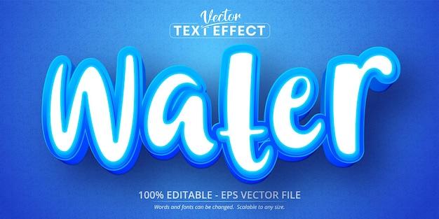 Testo dell'acqua, effetto di testo modificabile in stile cartone animato