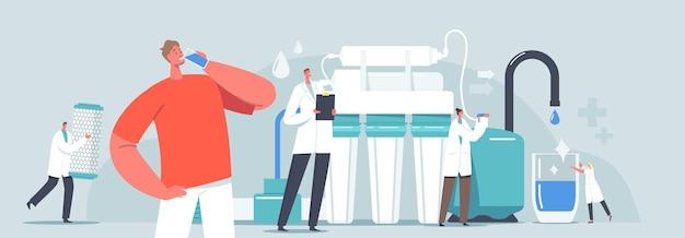 Sistema di trattamento delle acque, concetto di attrezzatura di filtrazione. personaggi minuscoli scienziati usano un'enorme caraffa con filtro aqua per la pulizia e la purificazione dell'acqua. uomo felice che beve, illustrazione di vettore della gente del fumetto