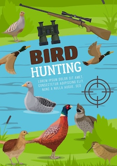 Poster di caccia agli uccelli acquatici e montani.