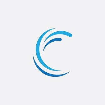 Modello di logo dell'icona dell'onda d'acqua