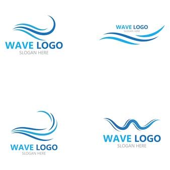 Logo di progettazione dell'illustrazione di vettore dell'icona dell'onda di acqua