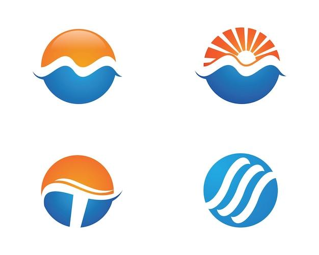 Disegno dell'illustrazione di vettore del modello di logo dell'onda dell'acqua