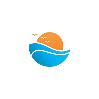 Onda d'acqua e simbolo di vettore del sole
