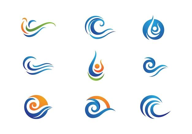 Simbolo e icona dell'onda d'acqua logo template vector