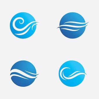 Simbolo e icona dell'onda d'acqua logo vettoriale