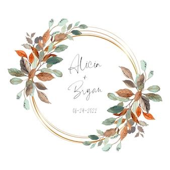 Corona di foglie astratte dell'acquerello con cornice dorata