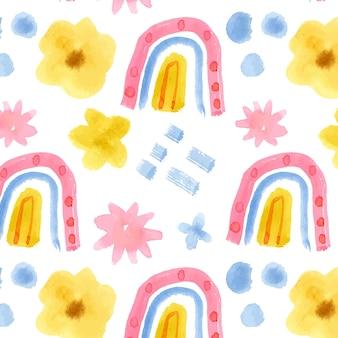 Reticolo astratto dell'acquerello con arcobaleno e fiori