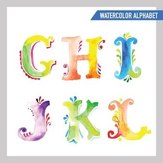 Alfabeto dell'acquerello. carattere dell'acquerello. lettere dipinte di abc.