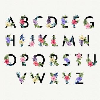Alfabeto dell'acquerello con fiori