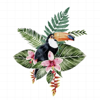 Può essere posizionato lo sfondo della foresta amazzonica dell'acquerello con uccelli con foglie che possono essere smontate