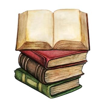 Antica pila di libri dell'acquerello con libro aperto Vettore Premium