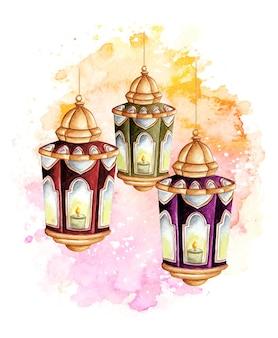 Lanterna araba dell'acquerello ramadan kareem