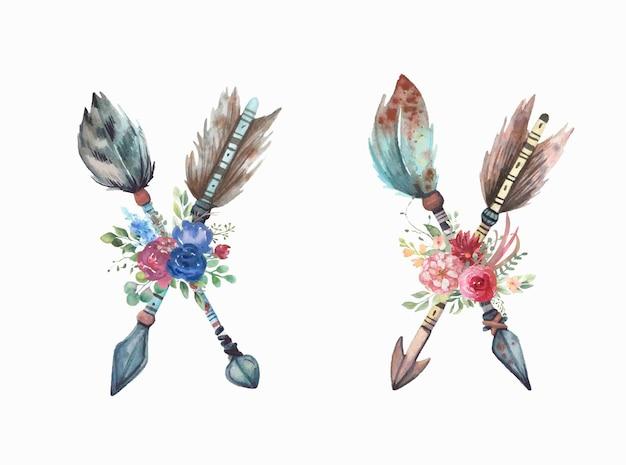 Collezione di frecce dell'acquerello con bouquet floreale.