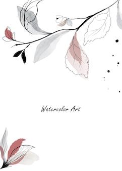 Scheda dell'invito di arte dell'acquerello di fiori naturali e rami di foglie. arte botanica acquerello dipinto a mano isolato su sfondo bianco. perfetto per le carte o l'arte della parete. pennello incluso nel file.