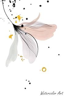 Biglietto d'invito per l'arte dell'acquerello di floreale delicato naturale decorato con gocce d'oro. arte botanica acquerello dipinto a mano isolato su sfondo bianco. pennello incluso nel file.