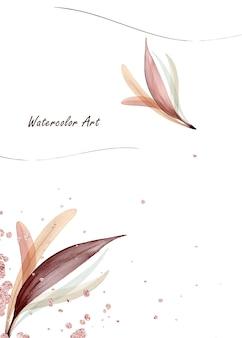 Biglietto d'invito per l'arte dell'acquerello di foglie delicate naturali decorate con gocce d'oro rosa. arte botanica acquerello dipinto a mano isolato su sfondo bianco. pennello incluso nel file.