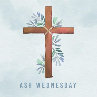 Croce del mercoledì delle ceneri dell'acquerello