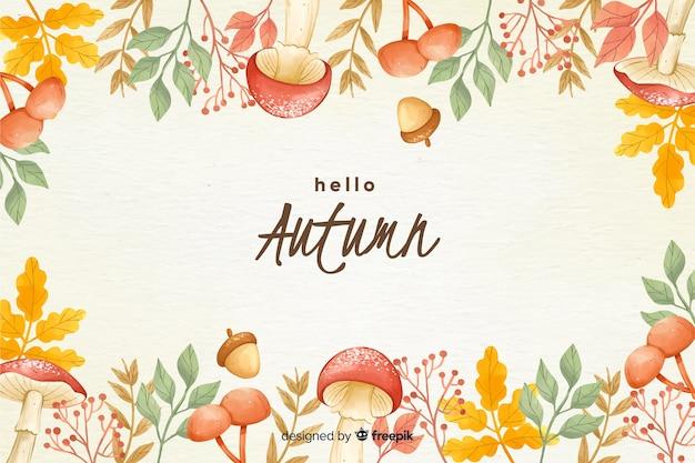 Priorità bassa di autunno dell'acquerello con foglie Vettore Premium