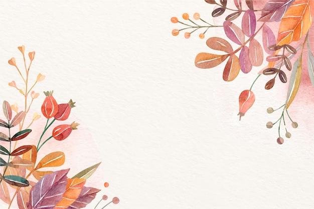 Sfondo autunno acquerello Vettore Premium