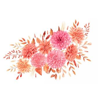 Mazzi boho autunnali ad acquerello con fiori e foglie beige e arancioni