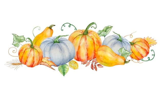 Composizione autunnale dell'acquerello con zucche arancioni e blu luminose e con foglie verdi e autunnali