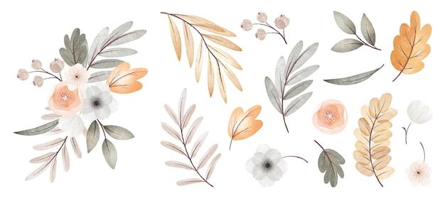 Collezione di fiori e foglie autunnali ad acquerello con bouquet