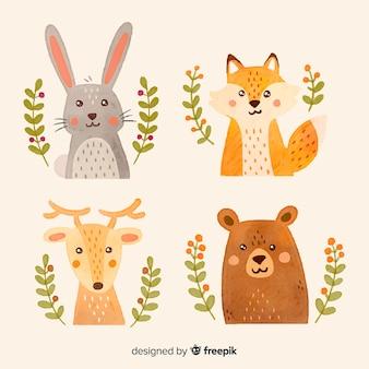 Collezione di animali della foresta di autunno dell'acquerello Vettore Premium
