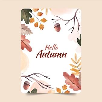 Cartolina d'auguri della foresta di autunno dell'acquerello