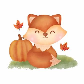Acquerello autunno volpe e zucca