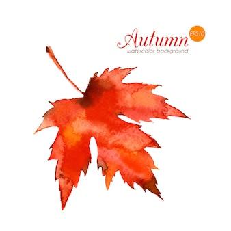 Foglia d'autunno ad acquerello. trama disegnata a mano di bello vettore