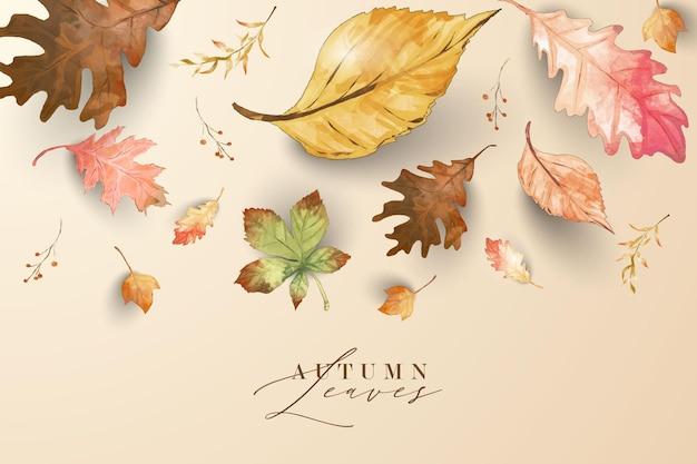 Acquerello foglie autunnali sfondo autunno tema cornice per auguri matrimonio felice ringraziamento dare