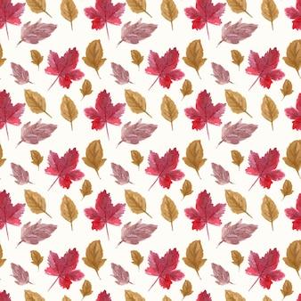 Modello senza cuciture dei fogli di autunno dell'acquerello