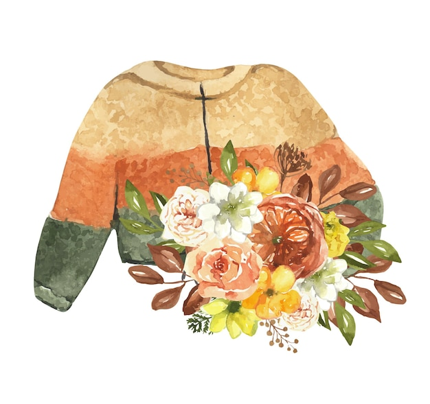 Maglione autunnale acquerello a righe decorato con adesivo fiori autunnali