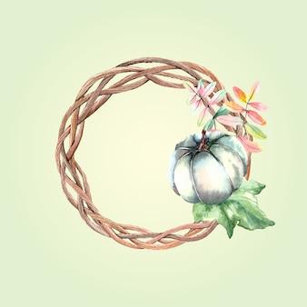 Corona di autunno dell'acquerello con zucca verde