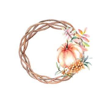Acquerello ghirlanda autunno con zucca e mare-olivello spinoso