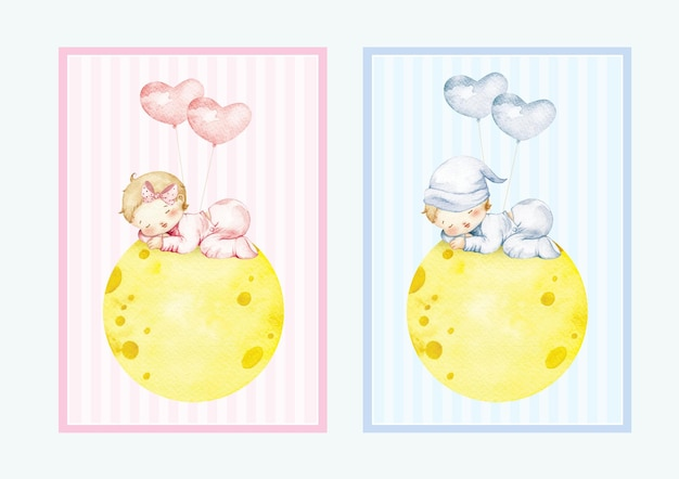 Neonato e bambina dell'acquerello dormono sulla luna con palloncini gratis