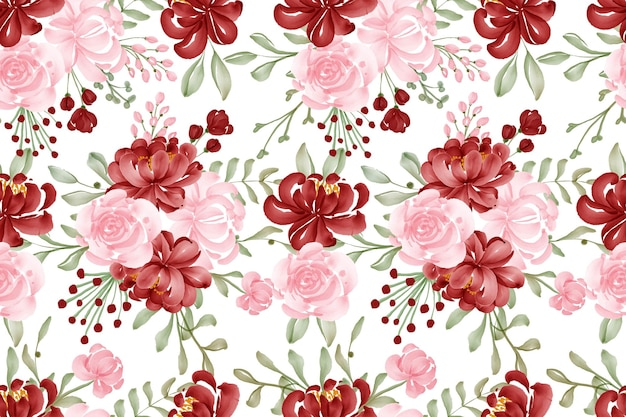 Sfondo acquerello senza cuciture fiore rosso e rosa